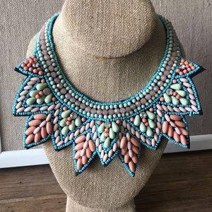 Turquoise and Coral Beaded Collar Necklace